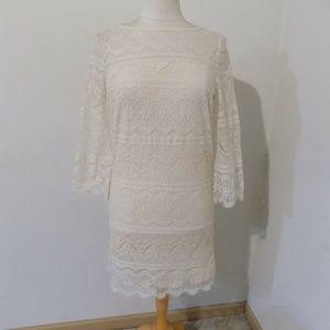 CHELSEA & VIOLET Ivory Lace Dress, Medium